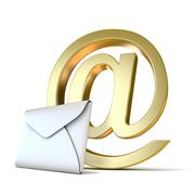 Envelope with golden e-mail sign. 3D Piirros