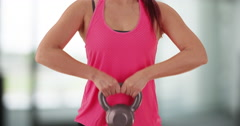 Woman working out with the kettlebell Stock Footage