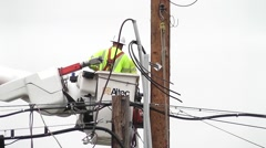 Linemen Lower Bucket With Camera Zoom Out Stock Footage