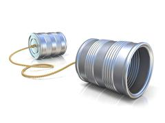 Communication concept: tin can children telephone with rope. 3D Stock Illustration