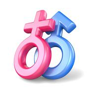 Pink female and blue male sex symbols. Mars and Venus symbols. 3D - stock illustration