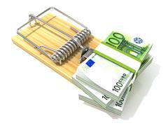 Stack of hundreds euros, like bait, in wooden mousetrap. 3D Stock Illustration