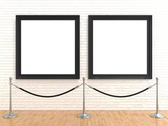 Two blank picture frame on brick wall, with stand rope barriers, 3D Stock Illustration