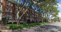 Row of Old Housing Buildings on Governors Island Stock Footage