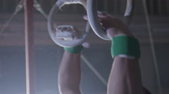 4K Gymnastic Rings . Shot on RED EPIC Cinema Camera in slow motion. Stock Footage