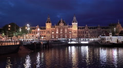 Central Station Front Amsterdam August 13th, the Netherlands Stock Footage