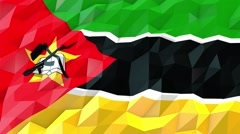 Flag of Mozambique 3D Wallpaper Illustration Stock Footage