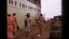 1953: Cruise ship travel women walking dock port tourists landing. HAVANA, CUBA Stock Footage