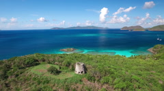 Aerial view of Peace Hill, St John Stock Footage