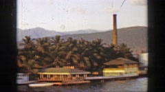 1953: Tropical industrial banana republic ocean harbor Caribbean seaport. Stock Footage