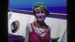 1953: Gypsy girl closeup performer dancing weird cruise ship deck actor Stock Footage