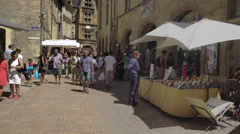 Shopping street Sarlat France August 2nd 2016 Stock Footage