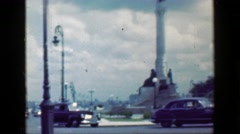 1953: Bacardi sign downtown city street turnabout  white statue classic hotel.  Stock Footage