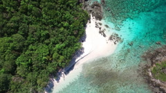 Aerial view of Denis Bay, St John Stock Footage