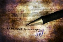 Application form and signature grunge concept Stock Photos