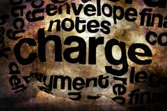 Charge text on crinkled paper grunge concept Stock Photos