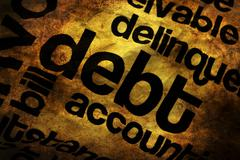 Debt text on paper grunge concept - stock photo