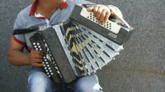 A man playing accordion in summer outdoors Stock Footage
