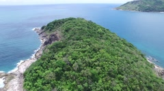 Panoramic beach and small island, from a high Stock Footage