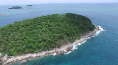 Attractive asian coast, small island, from a helicopter Stock Footage