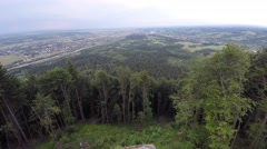The mountain ridge covered with forest. Mountain landscape. Drone video. Stock Footage