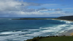 New Zealand Catlins Tautuku curved Bay view pan Stock Footage