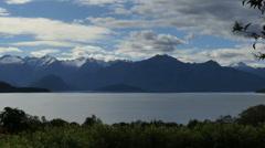 New Zealand Lake Manapouri vista pan Stock Footage