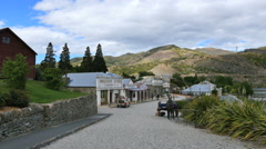 New Zealand Old Cromwell town down path zoom in Stock Footage