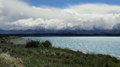 New Zealand view of Alps and Lake Pukaki pan Stock Footage