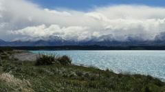 New Zealand view of Alps and Lake Pukaki pan Stock Footage