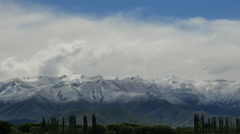 New Zealand view of Southern Alps pan and zoom Stock Footage