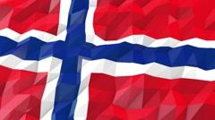 Flag of Svalbard and Jan Mayen 3D Wallpaper Illustration Stock Footage
