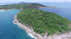Torrid beach & small island, from a quadrocopter Stock Footage