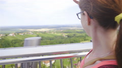 Woman enjoying beautiful view on flat landscape 4K Stock Footage