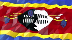 Flag of Swaziland 3D Wallpaper Illustration Stock Footage