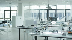 4K Interior view of work area in electronics factory. No people. Stock Footage