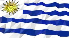 Flag of Uruguay 3D Wallpaper Illustration Stock Footage