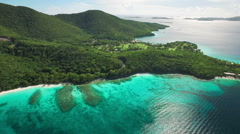Aerial view of Hawksnest Bay, St John, United States Virgin Islands Stock Footage
