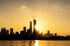 Cityscape and skyline of guangzhou at sunrise from water Kuvituskuvat
