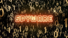 Golden Spyware concept with digital code Stock Footage