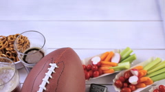 Appetizers on the table for the football party. Stock Footage