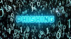 Bluish Phishing concept with digital code Stock Footage