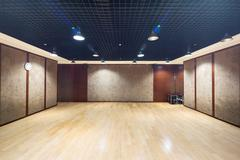 Design and decoration of empty room in modern gym Stock Photos