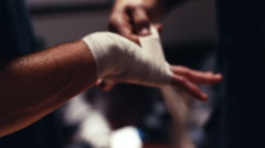 Wrapping Hands of Boxer Preparing For Boxing Match Stock Footage