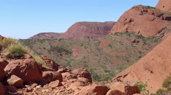 Uluru, Australia. Hill and Bushes. Northern Territory Outback Stock Footage