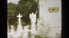 1957: Classic gravestone above-ground tombs cemeteries cities of the dead crypt Stock Footage
