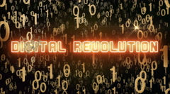 Golden Digital Revolution concept with digital code Stock Footage