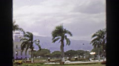 1957: Windy storm Caribbean tropical mountainous terrain palm tree royal Stock Footage