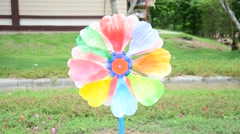 Colorful pinwheel toy made from plastic bottle recycle Stock Footage