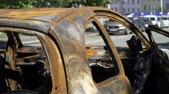 The exterior of a burnt car and the damage that has been done. Close up Stock Footage